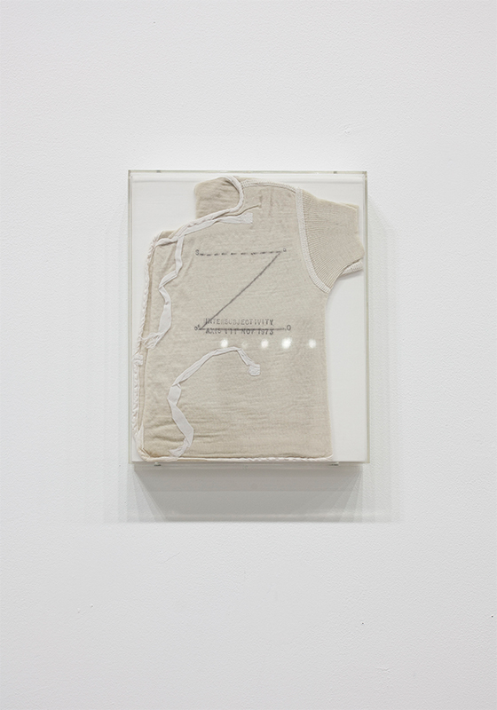 Mary Kelly - Post-Partum Document: Introduction, 1973, Perspex unit, white card, wool vests, pencil, ink, 1 0f 4 units, 20 x 25.5 cm