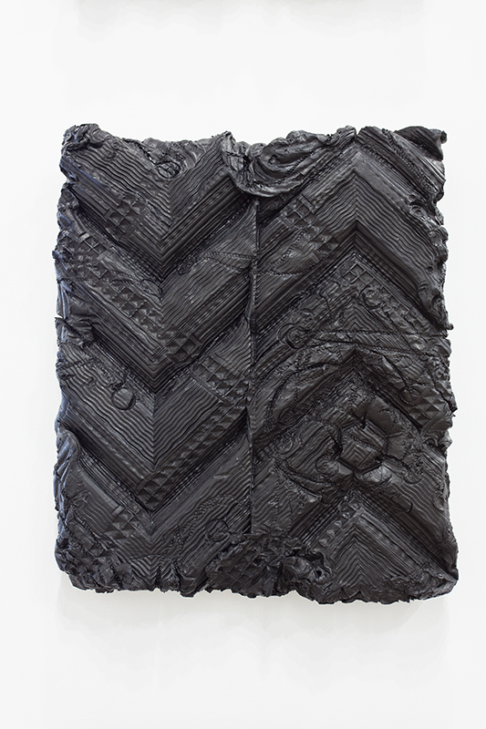 Peter Wu - Substantia Nigra (Figure 7), 2014, Air Dry Clay, India Ink, Mounted on Linen and Wood, 21 x 17.5 x 2.5 in