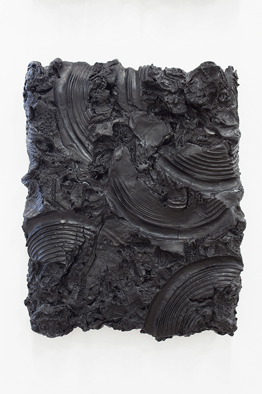 Peter Wu - Substantia Nigra (Figure 1), 2013, Air Dry Clay, India Ink, Mounted on Linen and Wood, 21 x 17.5 x 2.5 in