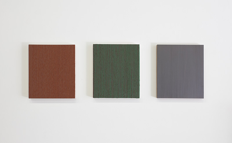 Carol Kaufman - Untitled, 2014, Oil on Canvas, Graphite on Panel, 15 x 13 in each