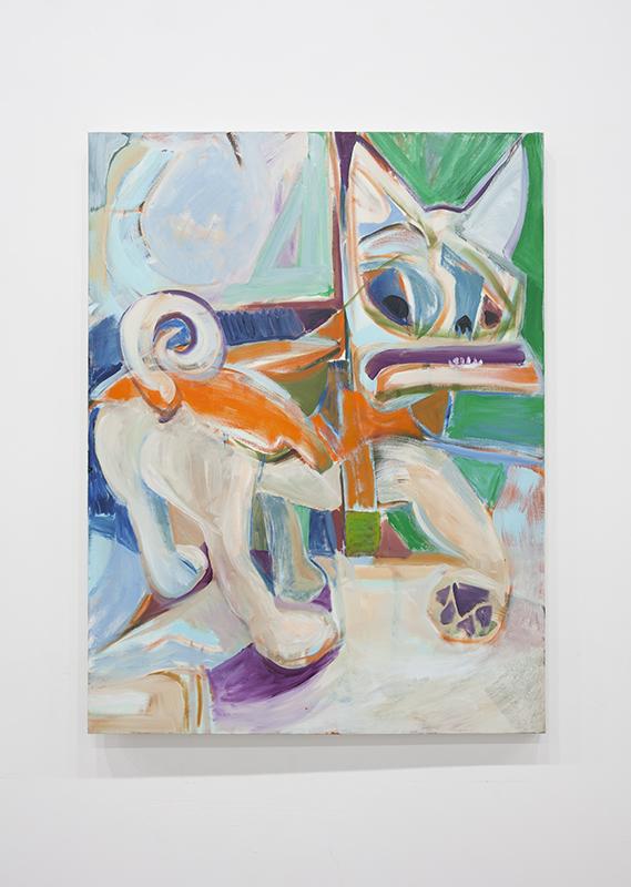 Rachel Rosenthal - Fierce Little Dog in an Orange Raincoat, 2007, Oil on Canvas, 24 x 36 in