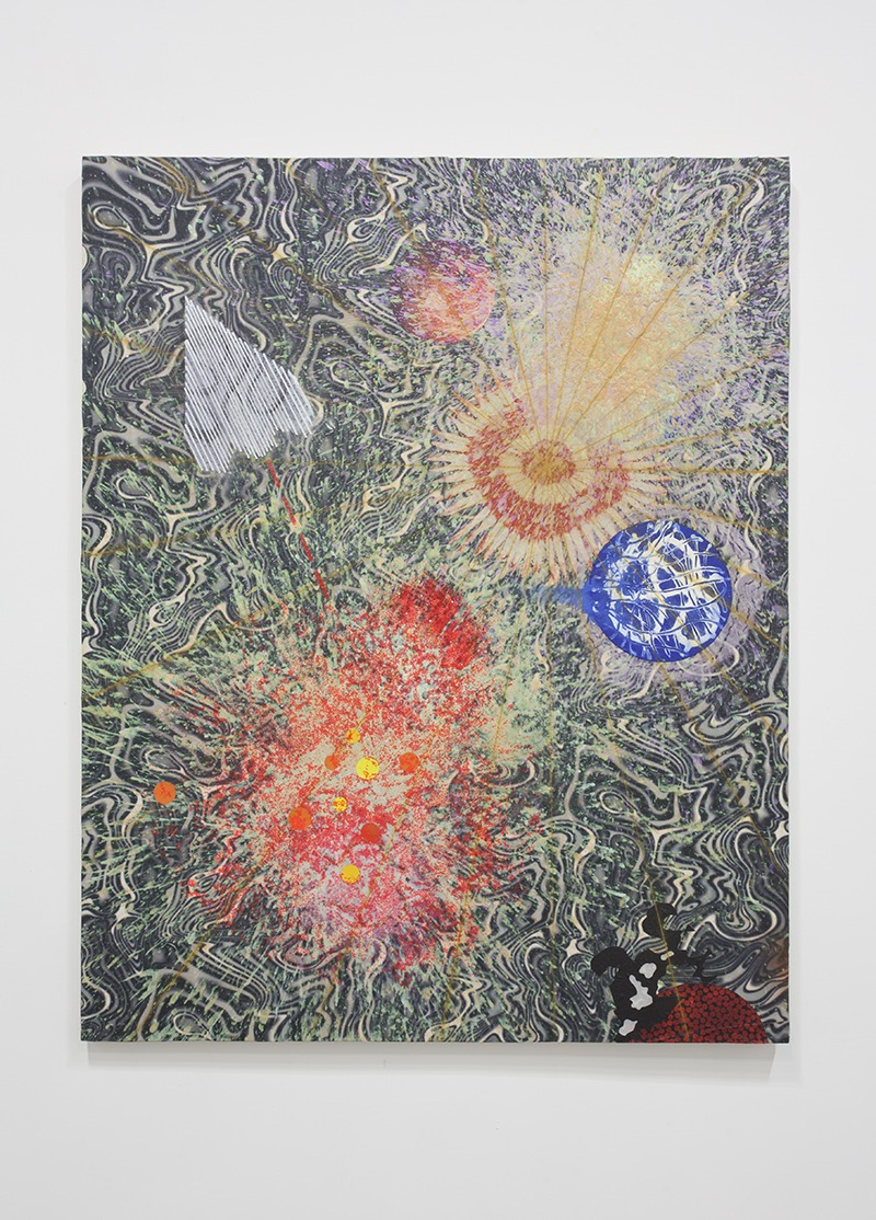 Merion Estes - Blasted, 2013, Fabric Collage, Acrylic, Plastic Decal and Glitter on Fabric, 60 x 48 in