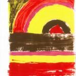 Shila Khatami - Sonnenuntergang sk II, 2010, Enamel on paper, 21 x 26 cm