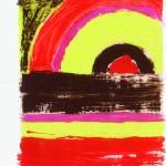 Shila Khatami, Sonnenuntergang sk II, 2010, Enamel on Paper 21 X 26cm