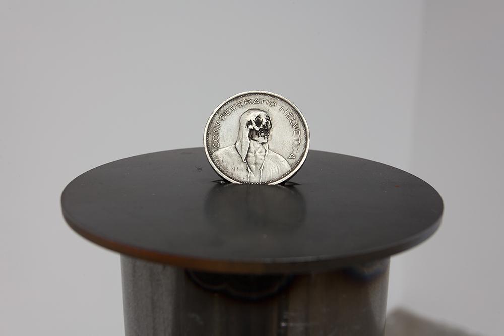 Dewey Ambrosino - Kilroy Yesterbation, 2015, Buffalo Nickel, Steel pipe pedestal, steel disc
