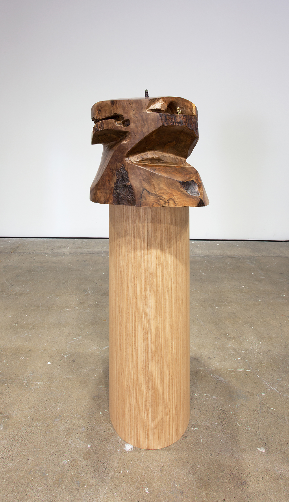 Dewey Ambrosino - Stupa, 2015, California Walnut, Bronze and Brass fetishes, oak veneered pedestal