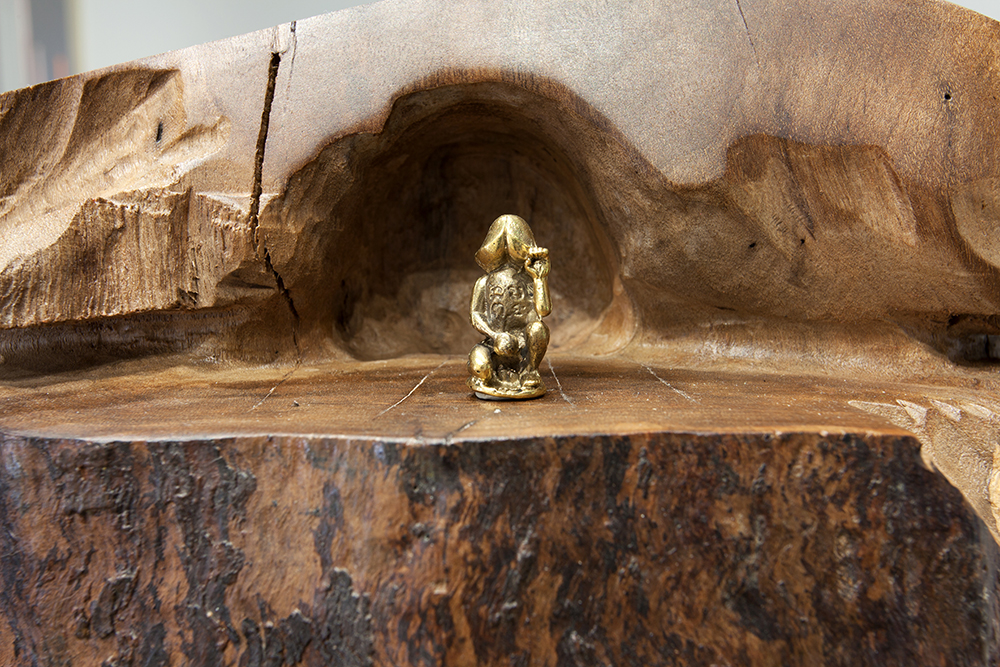 Dewey Ambrosino - Stupa, 2015, California Walnut, Bronze and Brass fetishes, oak veneered pedestal