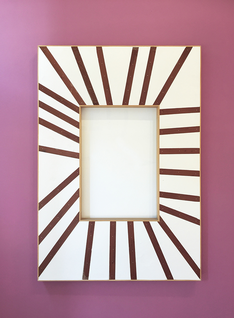 "Antonio Puleo  - Enlightened, 2013, Wood, Plaster, 39"" x 56"", on painted wall, overall dimensions 9' x 9'"