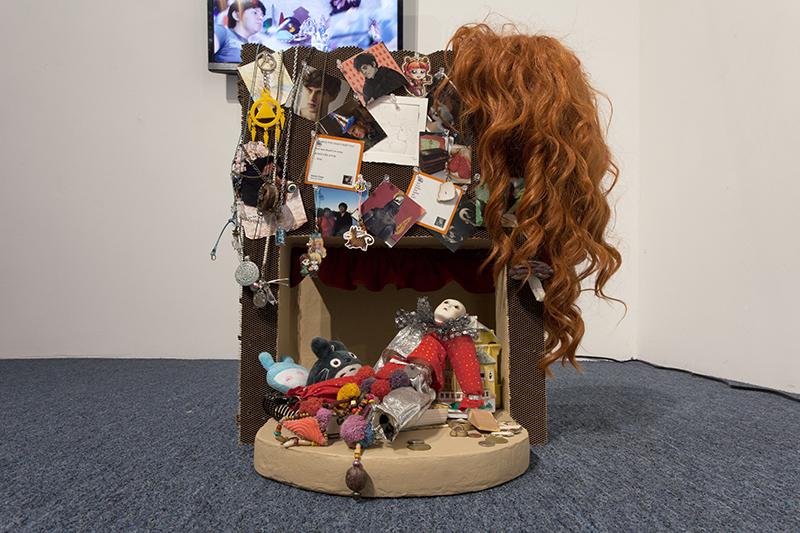 Carmen Argote - Dingbat Theater, 2016, Paper mache objects, Approx. 20x20x20 in