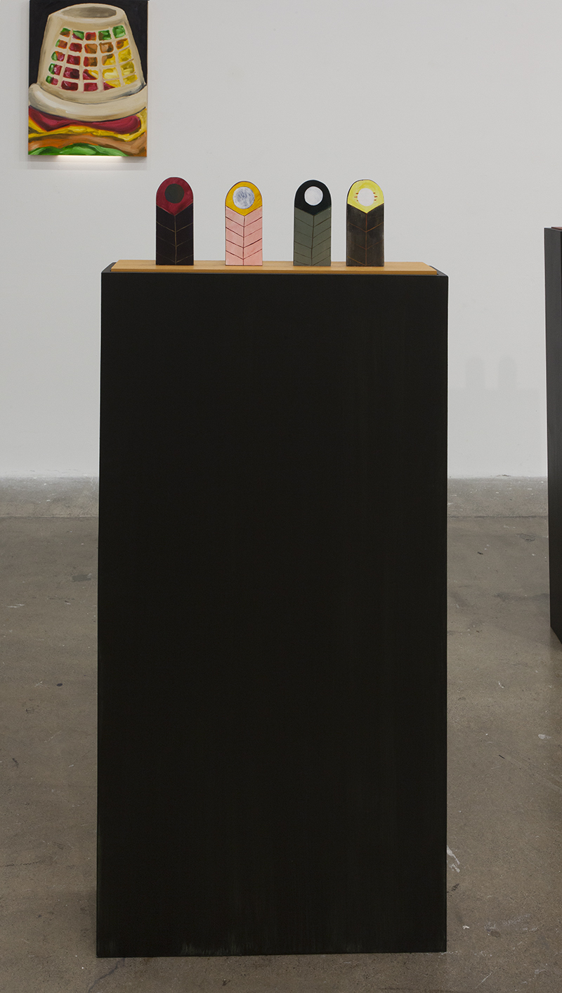 "Josh Atlas - Moon (Installation of 8 individual pieces), 2016, Acrylic on plaster, Each 2 ½"" x 5 ½"" x ½"", Mounted on artist's pedestals"