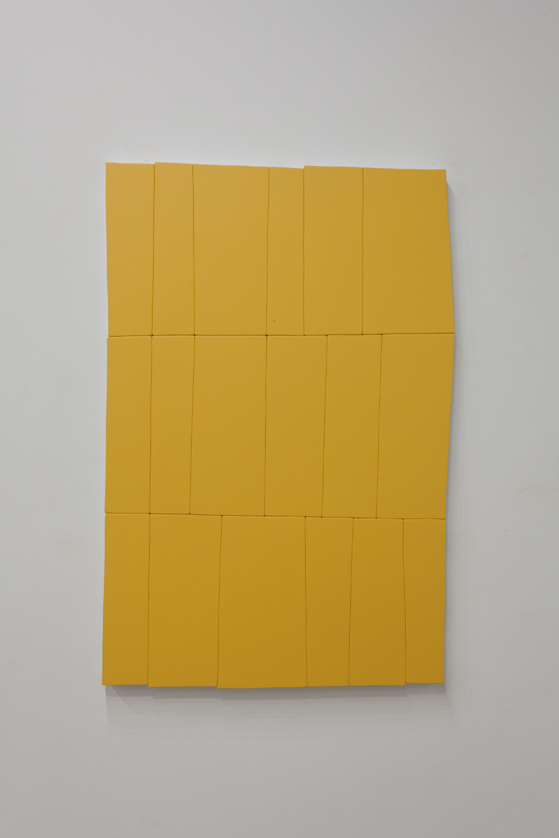 "Daniel Mendel-Black - The Weight of Yellow (Detail), 2016, Acrylic on canvas over wood panel, 60"" x 40"""