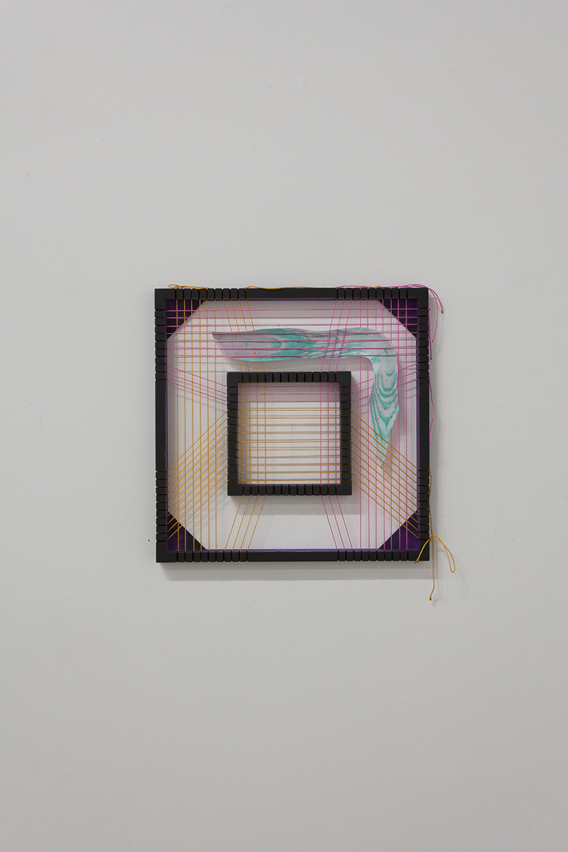 "Chet Glaze - Born to multiply, 2015, Acrylic and enamel on wood, engineering cord and paper, 12 "" x 12 """