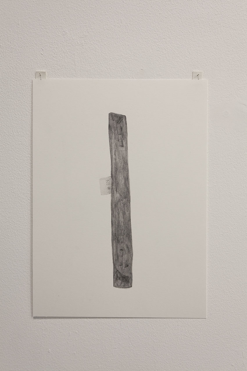 Gala Porras-Kim - One wooden plank, 2016, Graphite on paper