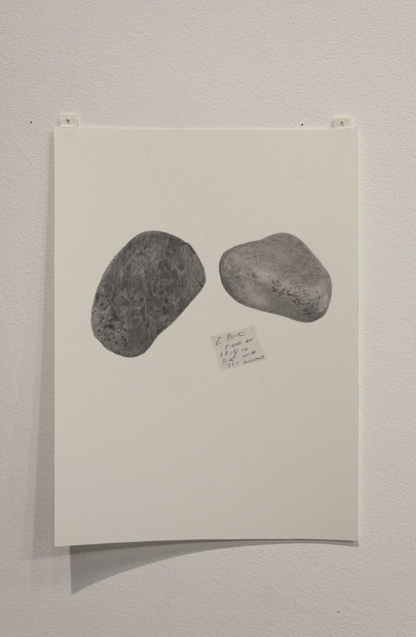 Gala Porras-Kim- Two rocks: one pumice split in half, one generic rock, one post-it, 2016, Graphite on paper