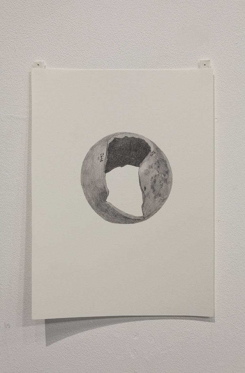Gala Porras-Kim - One broken gourd, 2016, Graphite on paper
