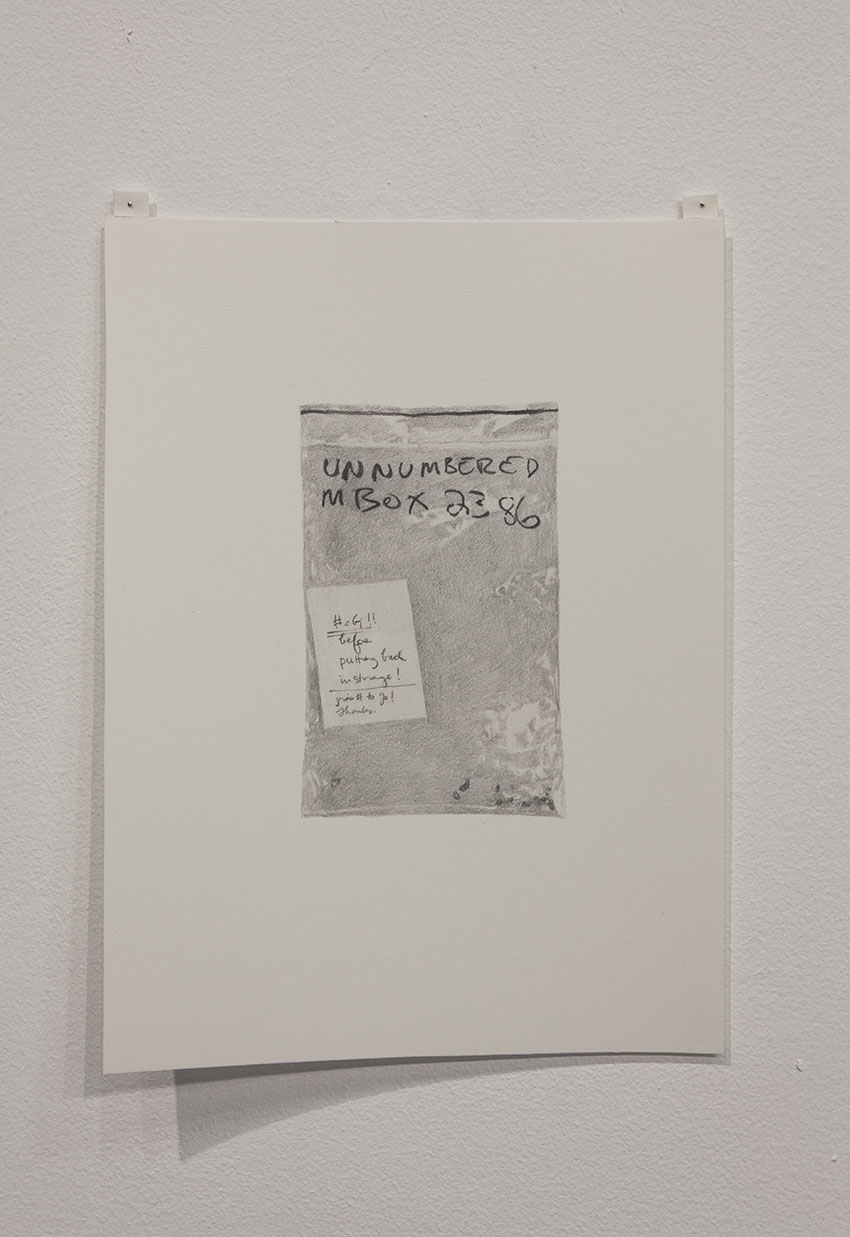 Gala Porras-Kim - One bag of crumbs with post-it, 2016, Graphite on paper