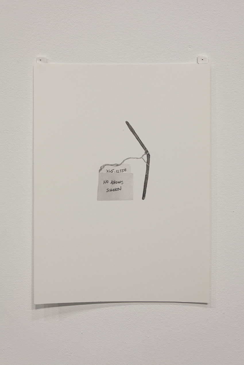 Gala Porras-Kim - One bent metal tube, 2016, Graphite on paper
