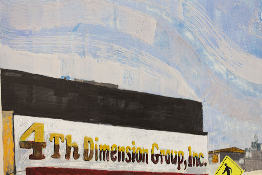 Katie Herzog with Andrew Choate - 4th Dimension Group, Inc/ B Flat, A Major Triad, 2016, Encaustic and oil on panel, 50 by 36 in